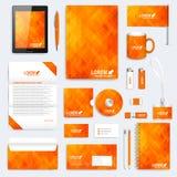 桔子套传染媒介公司本体模板 现代文具大模型 与橙色和黄色三角的背景 库存例证