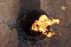 桔子是烧从地面的美丽的温暖的热的永恒火焰以记念已故的战士,战士 免版税图库摄影
