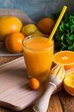 从桔子柠檬的新近地被按的柑桔汁撒石灰cumquat,与秸杆,绞刀,在桌上的薄菏的玻璃由窗口,土气 库存图片