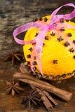 桔子用丁香和肉桂条 库存图片