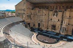 桔子罗马剧院的看法 免版税库存图片