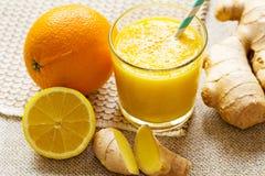桔子,柠檬,姜圆滑的人 免版税库存图片