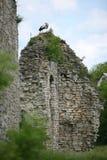 桔槔起重机坐白色石头被放弃的打破的墙壁  免版税库存照片