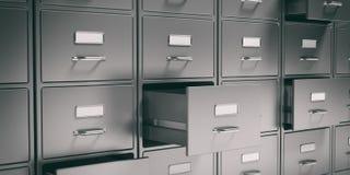 档案橱柜和开放抽屉 3d例证 皇族释放例证