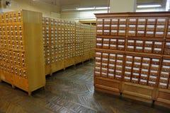 档案橱柜在图书馆里 库存图片