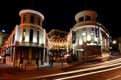 档案馆正方形在奥克兰街市在晚上 免版税图库摄影
