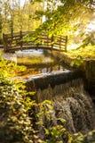 桥梁、河和星期日 免版税库存照片