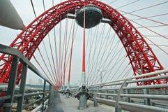 桥梁下来落的莫斯科 免版税图库摄影