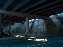 从桥梁下面的阳光 免版税库存照片