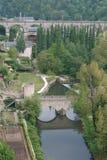 桥梁中世纪的卢森堡 库存照片