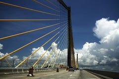 桥梁中间skyway阳光 库存照片