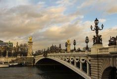 桥梁亚历山大III,巴黎,法国 库存照片