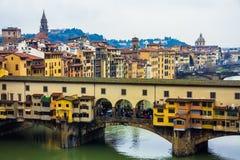 桥梁佛罗伦萨老意大利 库存图片