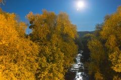 桥梁剪影有月亮的 免版税图库摄影