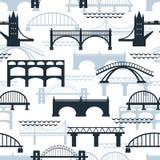 桥梁剪影的无缝的样式 免版税库存照片