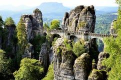 桥梁名为Bastei在撒克逊人的瑞士德国 库存图片