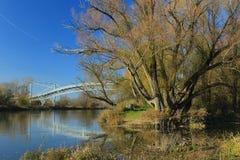桥梁向在摩拉瓦河的奥地利 库存照片