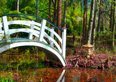 桥梁和亚洲日本寺庙塔 免版税库存照片