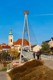 桥梁和教会- Uhersky Brod,捷克 库存图片