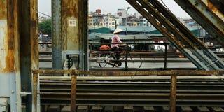 桥梁和自行车 库存照片