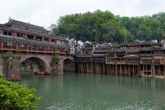 洪桥梁在凤凰牌古镇,湖南,中国 免版税库存照片