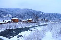 桥梁在河冬天 免版税图库摄影