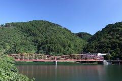桥梁在粉红色的铁湖 库存图片