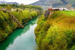 桥梁在Jablanica,波斯尼亚 库存照片