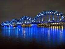 桥梁城市日晴朗横向的铁路 库存照片