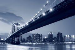 桥梁城市曼哈顿新的晚上约克 库存照片