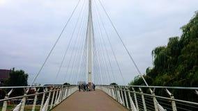 桥梁夜间人现出轮廓的天空 免版税库存图片