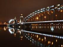 桥梁巨大晚上piter 免版税库存照片