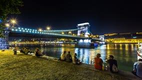 桥梁布达佩斯晚上 库存照片