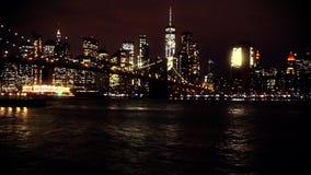 桥梁布鲁克林曼哈顿晚上地平线 股票视频