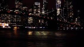 桥梁布鲁克林曼哈顿晚上地平线 影视素材