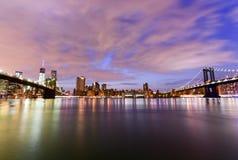 桥梁布鲁克林曼哈顿视图 库存图片