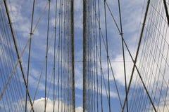 桥梁布鲁克林电缆关闭  免版税库存图片