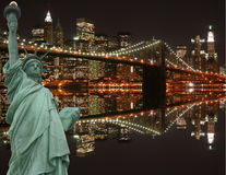 桥梁布鲁克林自由雕象 库存图片