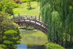 桥梁建筑学在一个美丽的日本庭院里 图库摄影
