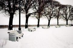 桥梁彼得斯堡圣徒降雪冬天 库存图片