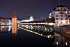 桥梁教堂卢塞恩瑞士 库存照片