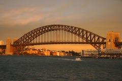 桥梁日落悉尼 库存图片