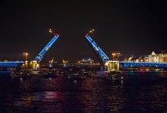 桥梁晚上视图 免版税库存图片