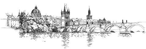 桥梁查尔斯全景布拉格视图 免版税图库摄影