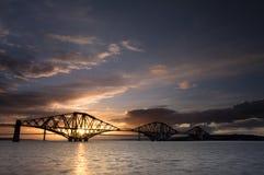 桥梁爱丁堡日落 库存照片