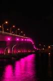 桥梁特写镜头迈阿密晚上 库存图片