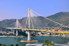 桥梁电缆香港 库存图片