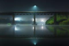 桥梁的反射在晚上 免版税库存图片