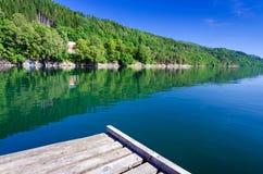 从桥梁的夏天视图在挪威 图库摄影