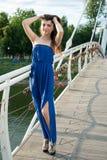 桥梁的美丽的年轻东方女孩在河 库存图片